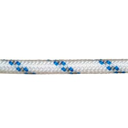 Cuerda Poliester Trenzada Blanco / Azul 14 mm. Bobina 100 m.