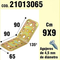 Soporte Para Madera Ángulo  65x90x90 mm./135°
