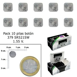 Pila Boton Oxido De Plata 379 / SR521SW (Caja 10 Pilas)