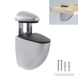 Soporte Pelicano Regulable Para Estante 1 / 20 mm. Cromo Mate (1 Pieza)