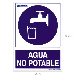 Cartel Agua No Potable 30x21cm.