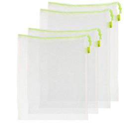 Bolsas De Compra Reutilizables De Malla 4 Unidades, 2 Bolsas De 30x35 cm y 2 Bolsas de 30x43 cm. Para Frutas,Verduras,Vergetales