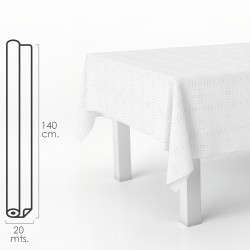 Mantel Hule Muletón Beige Rectangular. Impermeable Antimanchas PVC 140 cm. x 20 metros. Rollo Recortable. Interior y Exterior