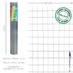 Malla Electrosoldada Galvanizada 50x25 / 2,00 / 150 cm. GA Rollo 25 metros.