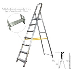 Escalera Aluminio Doméstica Profesional  7 Peldaños (Peldaño de 12 cm.)