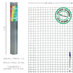 Malla Electrosoldada Galvanizada 19x19 / 100 cm. rollo 25 Metros Uso Domestico