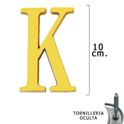 """Letra Latón """"K"""" 10 cm. con Tornilleria Oculta (Blister 1 Pieza)"""